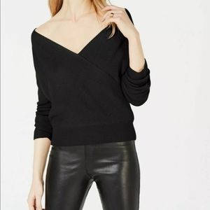 Bar III Surplice On or Off Shoulder Black Sweater